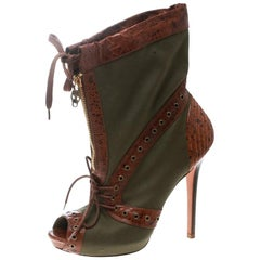 Alexander McQueen Eyelet Embellished Canvas Leather Peep-Toe Booties Size 38