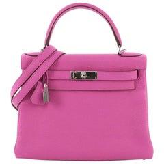 Hermes Kelly Handbag Magnolia Clemence with Palladium Hardware 28