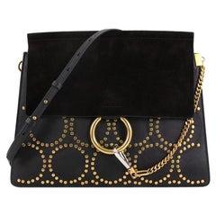 Chloe Faye Shoulder Bag Studded Suede Medium
