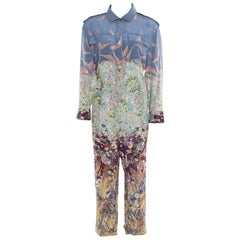 Valentino Multicolor Garden Flora and Fauna Printed Silk Jumpsuit L