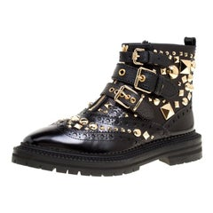 Burberry Black Studded Leather Everdon Ankle Boots Size 40