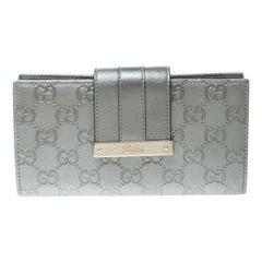 Gucci Grey Guccissima Leather Web Logo Continental Wallet
