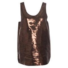 Chloe Metallic Brown Patch Pocket Detail Sleeveless Tank Top M