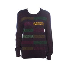 Chanel Multicolor Fuzzy Cashmere Embellished Sweater L