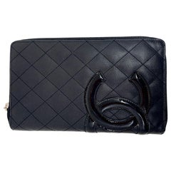CHANEL Cambon Wallet In Black Quilted Mate Leather