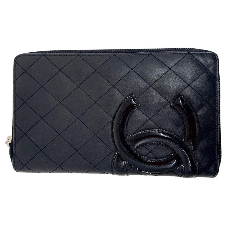 CHANEL Cambon Wallet In Black Quilted Mate Leather For Sale
