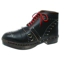 Burberry Black Studded Leather Antrim Fringe Detail Clog Boots Size 44