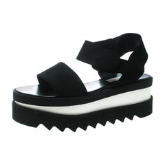 Stella McCartney Black Faux Nubuck Triple Platform Velcro Sandals Size 39