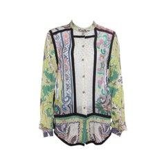 Etro Multicolor Printed Clip Dot Paneled Long Sleeve Shirt M