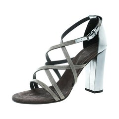 Brunello Cucinelli Metallic Silver Leather Embellished Cross Strap Block Heel Sa