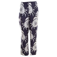 Prada Navy Blue Tropical Floral Printed Silk Elasticized Waist Pyjamas XL