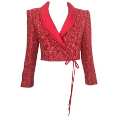 Valentino 1980s Red Nubby Confetti Wool Cropped Jacket Size 6.