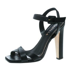 Le Silla Black Leather Cross Strap Platform Sandals Size 37.5