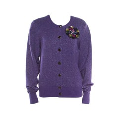 Chanel Purple Lurex Knit Cashmere Embellished Button Cardigan L