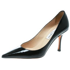 Jimmy Choo Black Patent Leather Agnes Pointed Toe Pumps Size 36