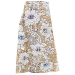 Fendi Metallic Floral Jacquard Tie Detail Apron Skirt S