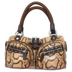 Versace Snakeskin Leather Trim Italian Handbag circa 1990s