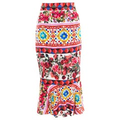 Dolce and Gabbana Multicolor Printed Silk Mambo Flounce Skirt M