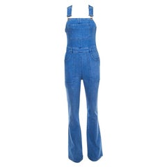 Stella McCartney Indigo Light Washed Wide Leg Denim Overalls S