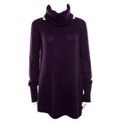 Loro Piana Purple Cashmere Sweater and Infinity Scarf Set S