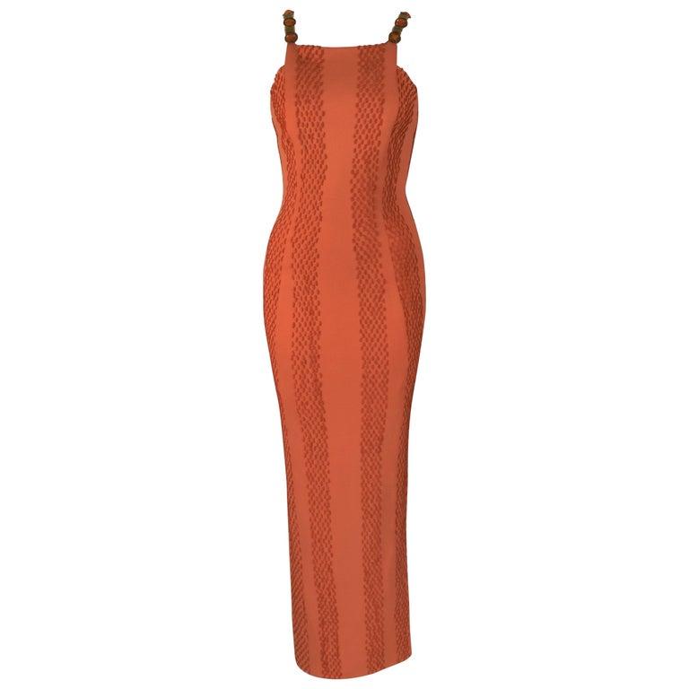 7338890401 Atelier Versace Haute Couture Samon Orange Maxi Dress