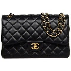 Chanel Black Lambskin Leather Quilted Double Flap Classic Jumbo Bag w. GHW