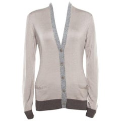 Loro Piana Beige Contrast Trim Detail Cashmere and Silk Cardigan M