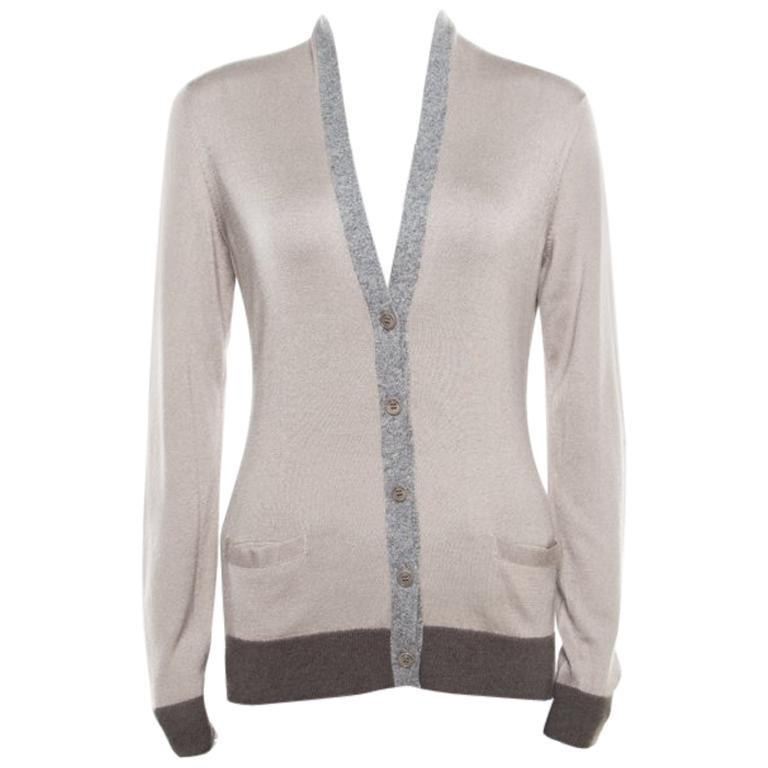 Loro Piana Beige Contrast Trim Detail Cashmere and Silk Cardigan M For Sale