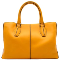 Tod's Yellow Top Handle Leather Bag
