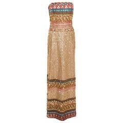 Oscar de la Renta Multicolor Embroidered Sequin Embellished Strapless Gown L