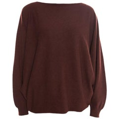 Hermes Brown Cashmere Dolman Sleeve Cropped Sweater M