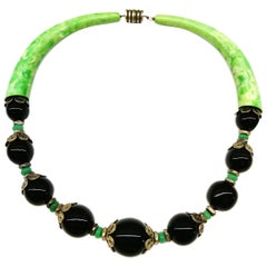 Art Deco Galalith and black and green glass necklace, France, 1930s