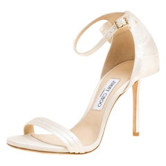 127c738fe6d1 Jimmy Choo Ivory Satin Kerry Ankle Strap Open Toe Sandals Size 39. Jimmy  Choo White Knitted Nubuck Leather ...