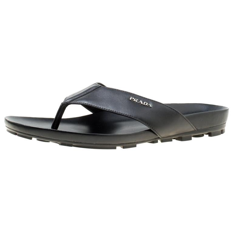 e1ad3f2e7e598c Prada Sport Black Leather Thong Sandals Size 45 For Sale at 1stdibs