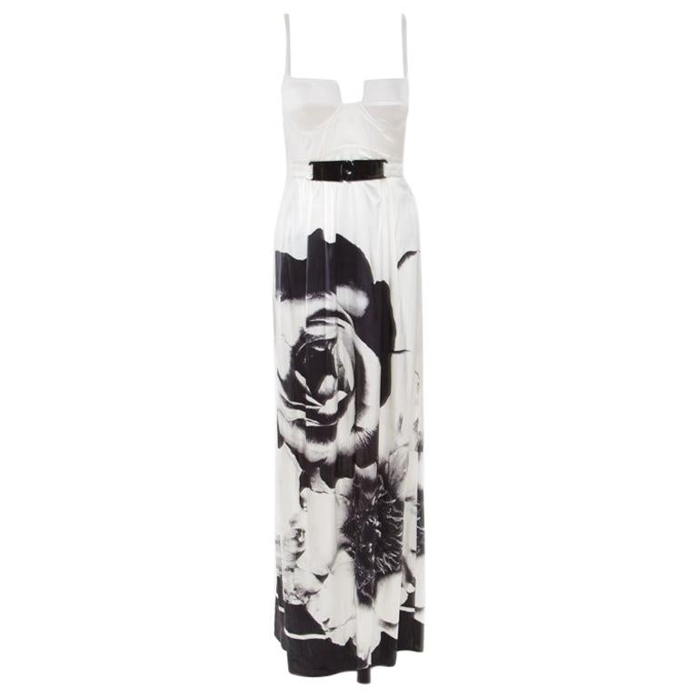 31b39b9c6f Class by Roberto Cavalli Monochrome Floral Printed Silk Satin Bustier Maxi  Dress For Sale