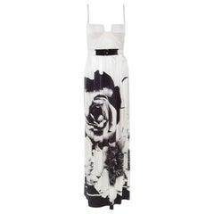 Class by Roberto Cavalli Monochrome Floral Printed Silk Satin Bustier Maxi Dress