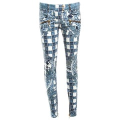 c7f3673e Balmain Indigo Light Washed Denim Baroque Printed Skinny Biker Jeans S