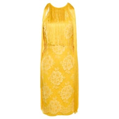 Stella McCartney Canary Yellow Floral Lace Overlay Fringed Halter Dress S