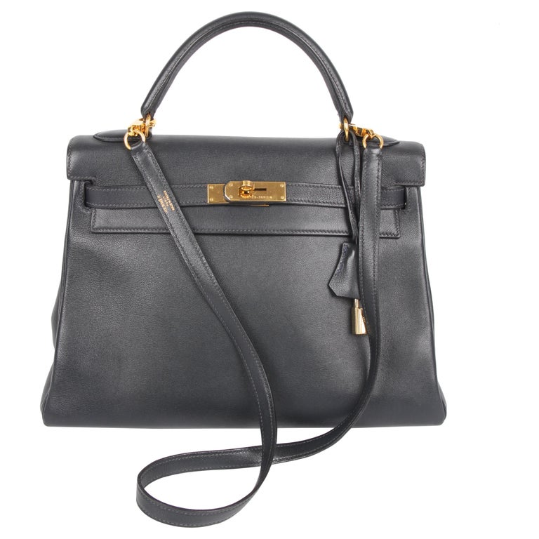 Hermès Kelly Bag 32 Swift Leather - dark blue For Sale