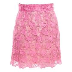 24426fca0178 Miu Miu Petal Pink Heart Motif Cotton Lace Scalloped Mini Skirt S