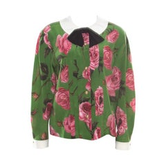 Gucci Green English Rose Printed Silk Crepe de Chine Blouse M