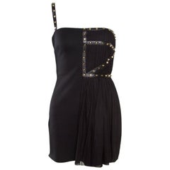 Versace Black Jersey Plisse Overlay Studded One Shoulder Mini Dress S