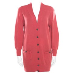 Chanel Hot Coral Cashmere Button Front Cardigan M