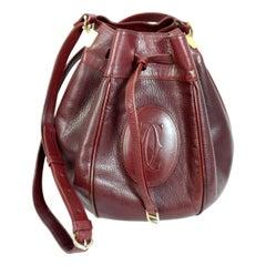 1980s Cartier Burgundy Leather Vintage Shoulder Bag Bucket
