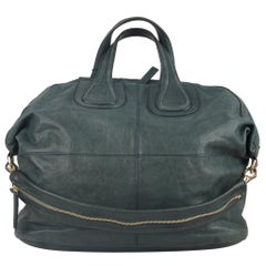 Givenchy Green Leather Nightingale Tote Satchel Shoulder Bag