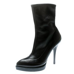 Gucci Black Leather Wimbledon Platform Ankle Boots Size 38.5