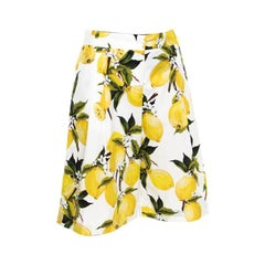 Dolce and Gabbana White Lemon and Floral Printed Cotton Bermuda Shorts S