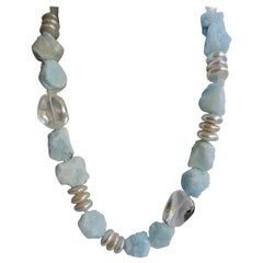 Blue Aragonite White Cultured Pearl Rock Crystal Nuggets 925 Silver Necklace