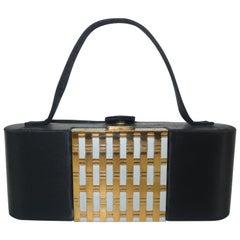 1950's Dorette Mirrored Compact Black Satin Evening Handbag
