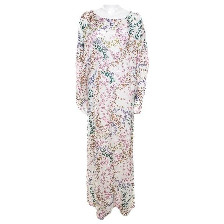 Issa White Erfly Printed Dolman Sleeve Kaftan Maxi Dress M